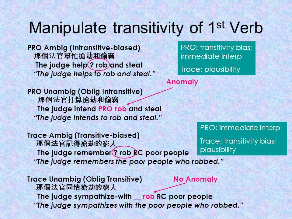 Manipulate transitivity of 1 st Verb PRO Ambig (Intransitive-biased) 那個法官幫忙搶劫和偷竊 The judge help .
