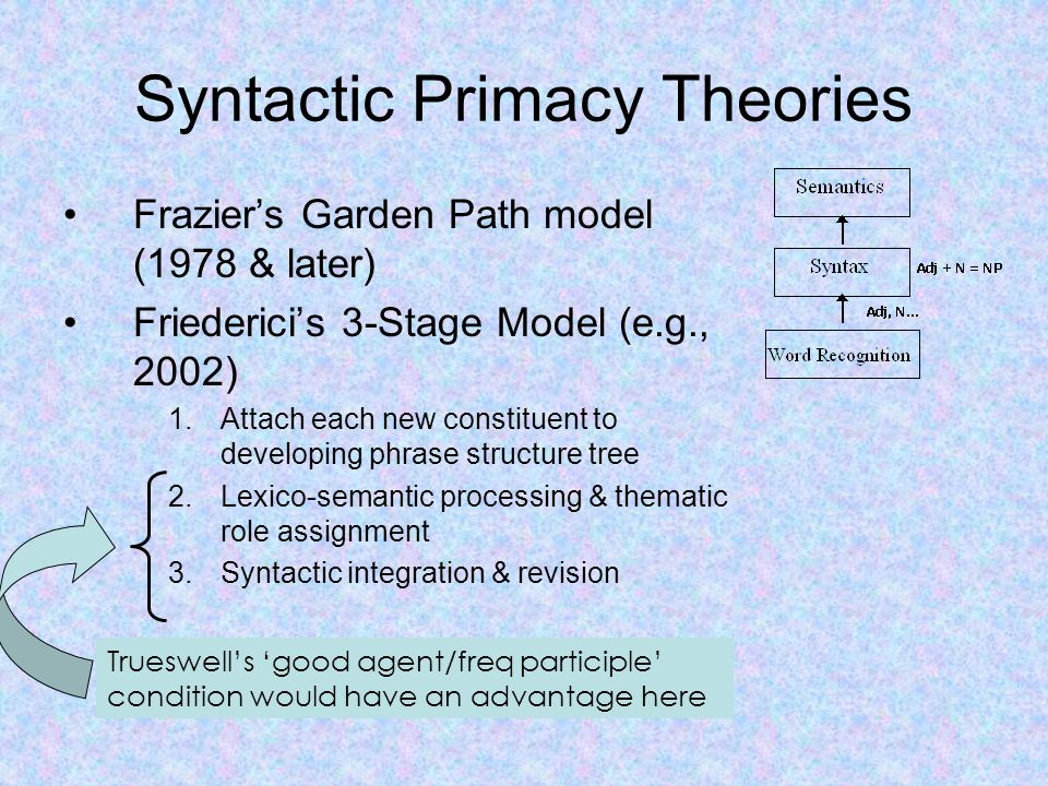 Syntactic Primacy Theories Frazier's Garden Path model (1978 & later) Friederici's 3-Stage Model (e.g., 2002) 1.Attach each new constituent to developing phrase structure tree 2.Lexico-semantic processing & thematic role assignment 3.Syntactic integration & revision Trueswell's 'good agent/freq participle' condition would have an advantage here