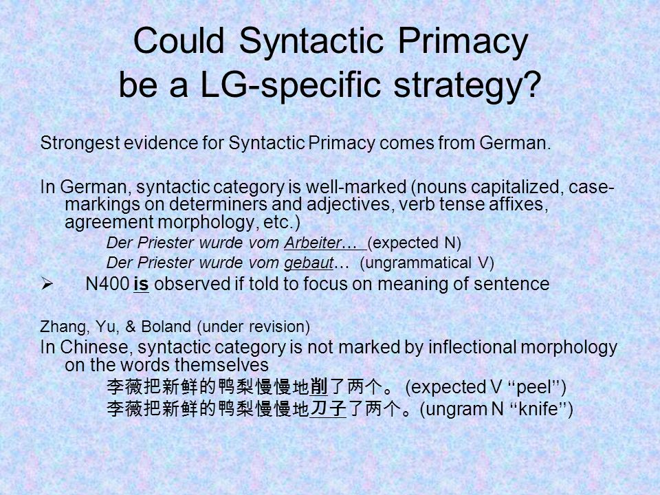 Could Syntactic Primacy be a LG-specific strategy.