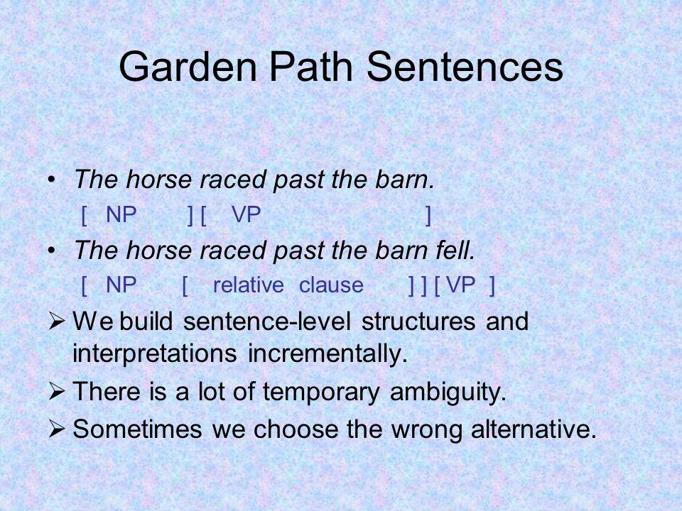 Garden Path Sentences The horse raced past the barn.