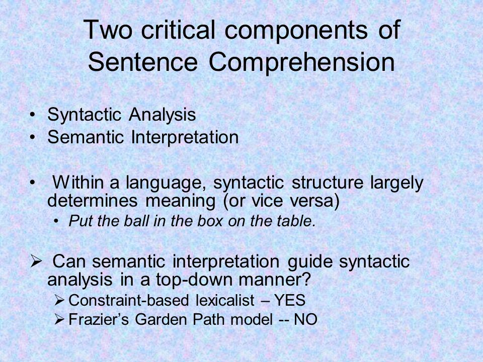 Two critical components of Sentence Comprehension Syntactic Analysis Semantic Interpretation Within a language, syntactic structure largely determines meaning (or vice versa) Put the ball in the box on the table.