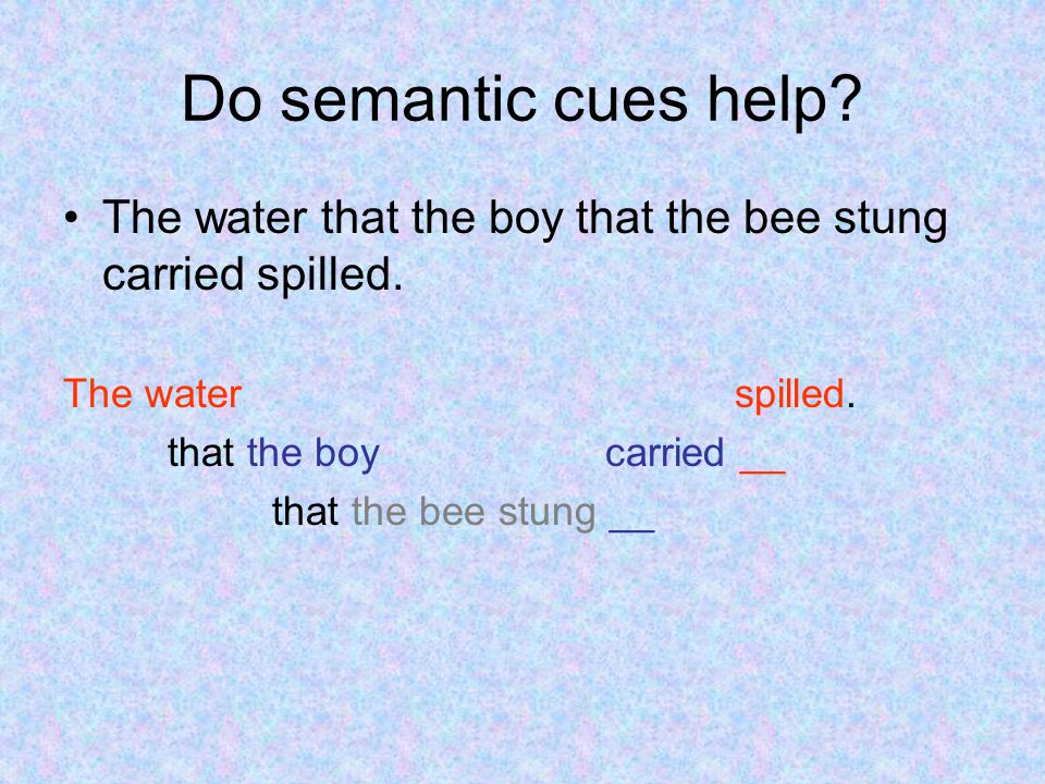 Do semantic cues help. The water that the boy that the bee stung carried spilled.