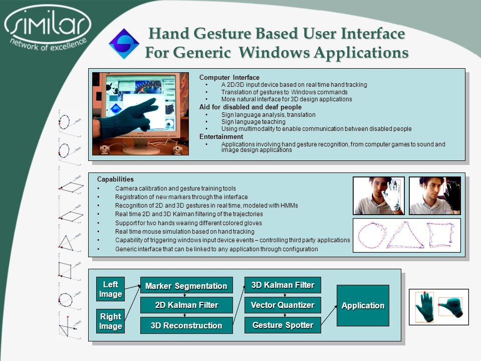 Hand Gesture Based User Interface For Generic Windows Applications –Computer Interface A 2D/3D input device based on real time hand trackingA 2D/3D input device based on real time hand tracking Translation of gestures to Windows commandsTranslation of gestures to Windows commands More natural interface for 3D design applicationsMore natural interface for 3D design applications –Aid for disabled and deaf people Sign language analysis, translationSign language analysis, translation Sign language teachingSign language teaching Using multimodality to enable communication between disabled peopleUsing multimodality to enable communication between disabled people –Entertainment Applications involving hand gesture recognition, from computer games to sound and image design applicationsApplications involving hand gesture recognition, from computer games to sound and image design applications LeftImage 3D Reconstruction 3D Kalman Filter Vector Quantizer Gesture Spotter Application RightImage 2D Kalman Filter Marker Segmentation Capabilities Camera calibration and gesture training toolsCamera calibration and gesture training tools Registration of new markers through the interfaceRegistration of new markers through the interface Recognition of 2D and 3D gestures in real time, modeled with HMMsRecognition of 2D and 3D gestures in real time, modeled with HMMs Real time 2D and 3D Kalman filtering of the trajectoriesReal time 2D and 3D Kalman filtering of the trajectories Support for two hands wearing different colored glovesSupport for two hands wearing different colored gloves Real time mouse simulation based on hand trackingReal time mouse simulation based on hand tracking Capability of triggering windows input device events – controlling third party applicationsCapability of triggering windows input device events – controlling third party applications Generic interface that can be linked to any application through configurationGeneric interface that can be linked to any application through configuration