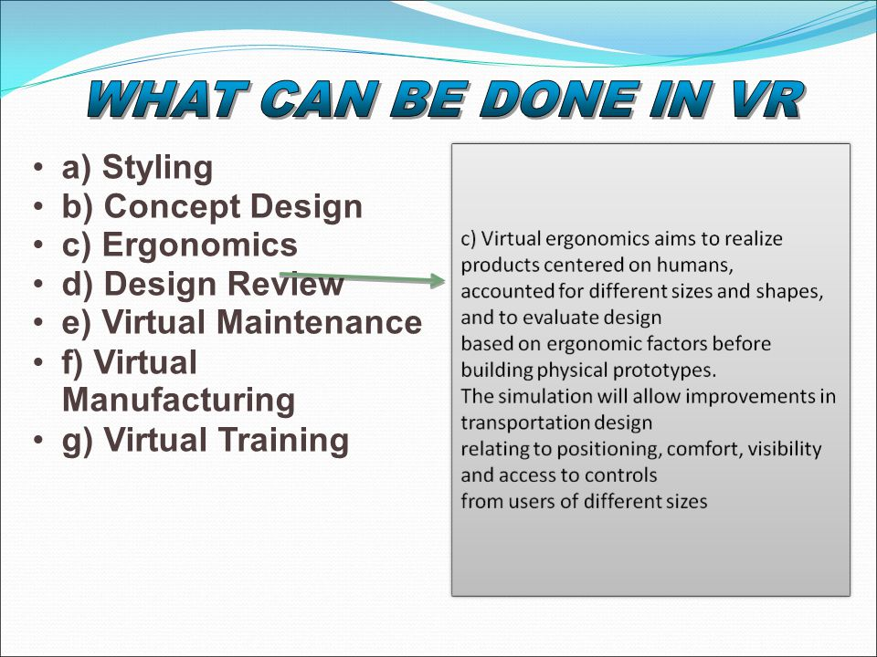 a) Styling b) Concept Design c) Ergonomics d) Design Review e) Virtual Maintenance f) Virtual Manufacturing g) Virtual Training