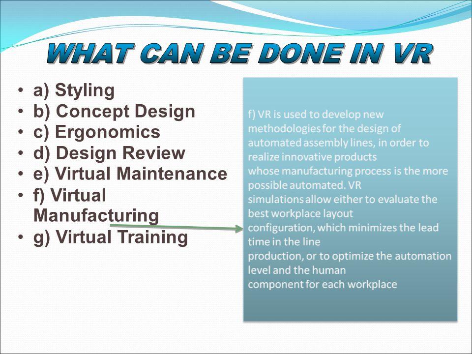 a) Styling b) Concept Design c) Ergonomics d) Design Review e) Virtual Maintenance f) Virtual Manufacturing g) Virtual Training