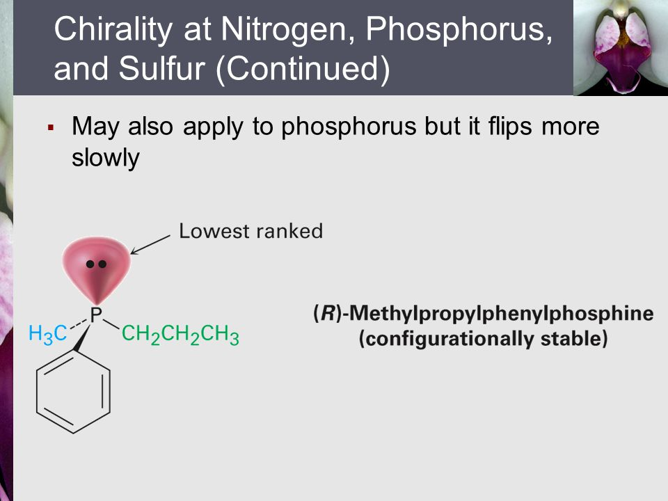  May also apply to phosphorus but it flips more slowly Chirality at Nitrogen, Phosphorus, and Sulfur (Continued)