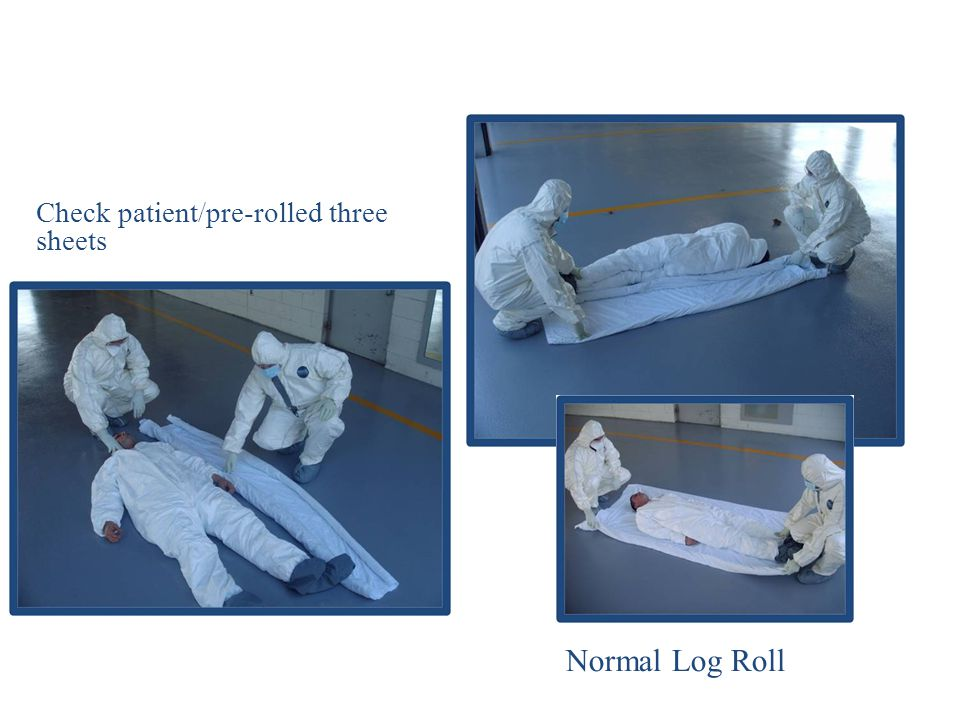Check patient/pre-rolled three sheets Normal Log Roll
