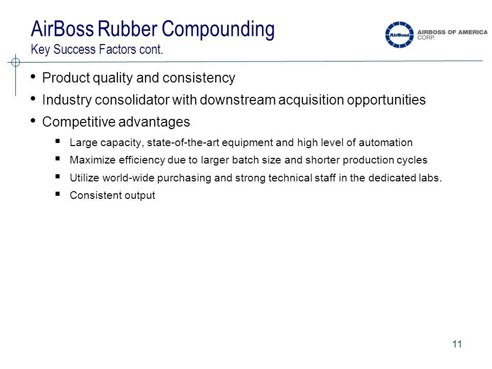 11 AirBoss Rubber Compounding Key Success Factors cont.
