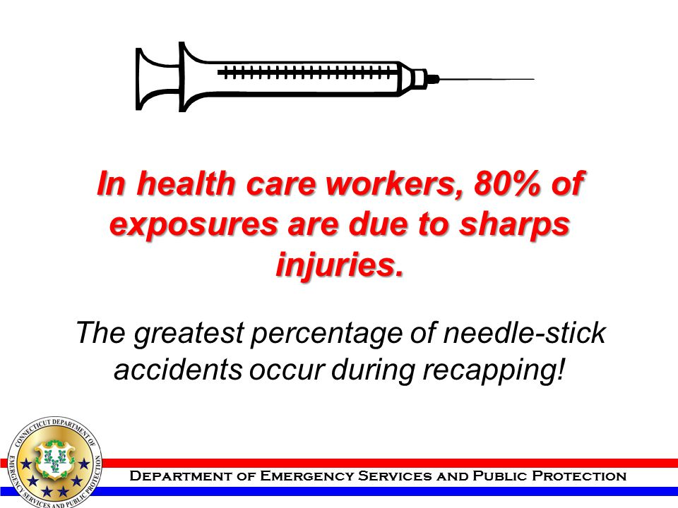 Department of Emergency Services and Public Protection In health care workers, 80% of exposures are due to sharps injuries. The greatest percentage of