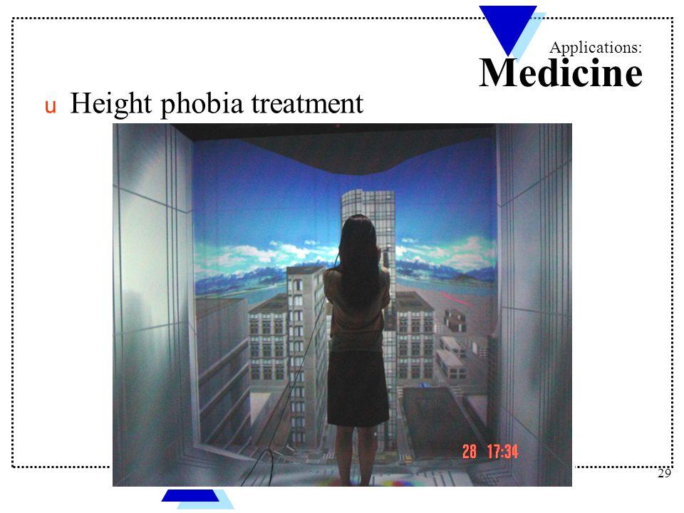 Applications: Medicine u Height phobia treatment 29