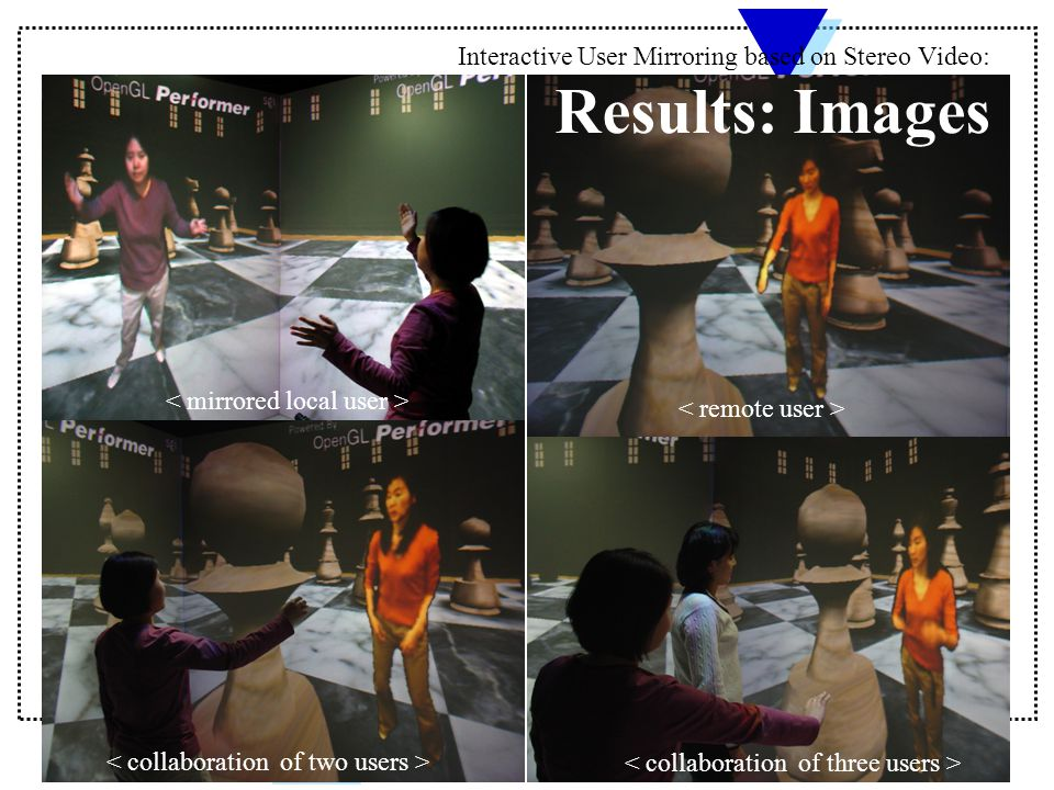 Interactive User Mirroring based on Stereo Video: Results: Images