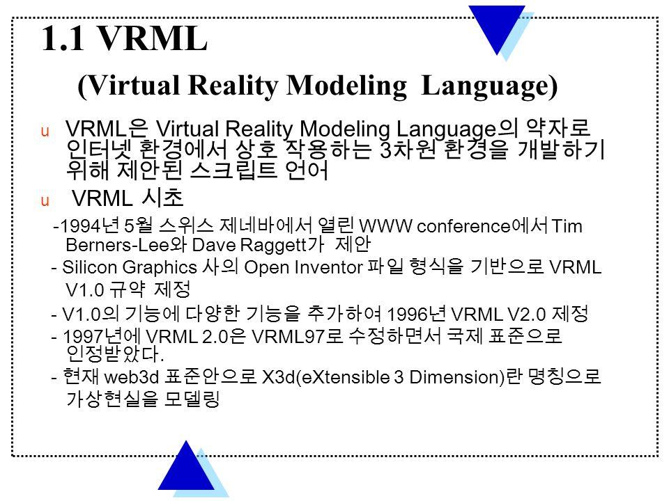 1.1 VRML (Virtual Reality Modeling Language)  VRML 은 Virtual Reality Modeling Language 의 약자로 인터넷 환경에서 상호 작용하는 3 차원 환경을 개발하기 위해 제안된 스크립트 언어  VRML 시초 -1994 년 5 월 스위스 제네바에서 열린 WWW conference 에서 Tim Berners-Lee 와 Dave Raggett 가 제안 - Silicon Graphics 사의 Open Inventor 파일 형식을 기반으로 VRML V1.0 규약 제정 - V1.0 의 기능에 다양한 기능을 추가하여 1996 년 VRML V2.0 제정 - 1997 년에 VRML 2.0 은 VRML97 로 수정하면서 국제 표준으로 인정받았다.