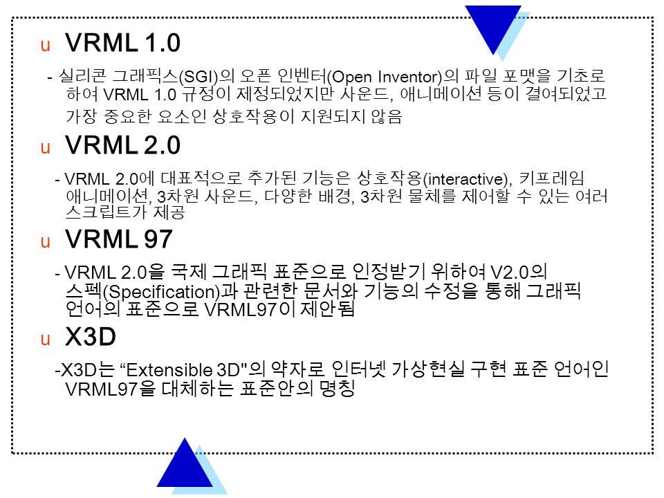  VRML 1.0 - 실리콘 그래픽스 (SGI) 의 오픈 인벤터 (Open Inventor) 의 파일 포맷을 기초로 하여 VRML 1.0 규정이 제정되었지만 사운드, 애니메이션 등이 결여되었고 가장 중요한 요소인 상호작용이 지원되지 않음  VRML 2.0 - VRML 2.0 에 대표적으로 추가된 기능은 상호작용 (interactive), 키프레임 애니메이션, 3 차원 사운드, 다양한 배경, 3 차원 물체를 제어할 수 있는 여러 스크립트가 제공  VRML 97 - VRML 2.0 을 국제 그래픽 표준으로 인정받기 위하여 V2.0 의 스펙 (Specification) 과 관련한 문서와 기능의 수정을 통해 그래픽 언어의 표준으로 VRML97 이 제안됨  X3D -X3D 는 Extensible 3D 의 약자로 인터넷 가상현실 구현 표준 언어인 VRML97 을 대체하는 표준안의 명칭
