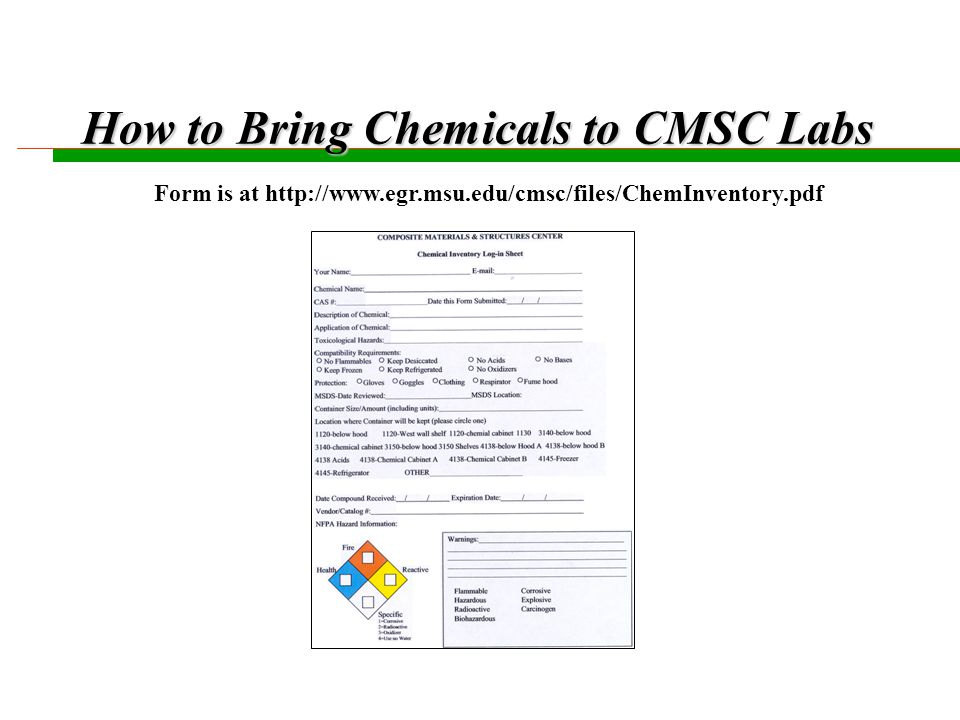 Secondary Containers n All secondary containers must be labeled with Chemical Name, Date, and Owner, n All secondary containers must have NFPA hazard thumb stickers, and have the primary hazard spelled out in words, i.e., Flammable , Corrosive , etc......
