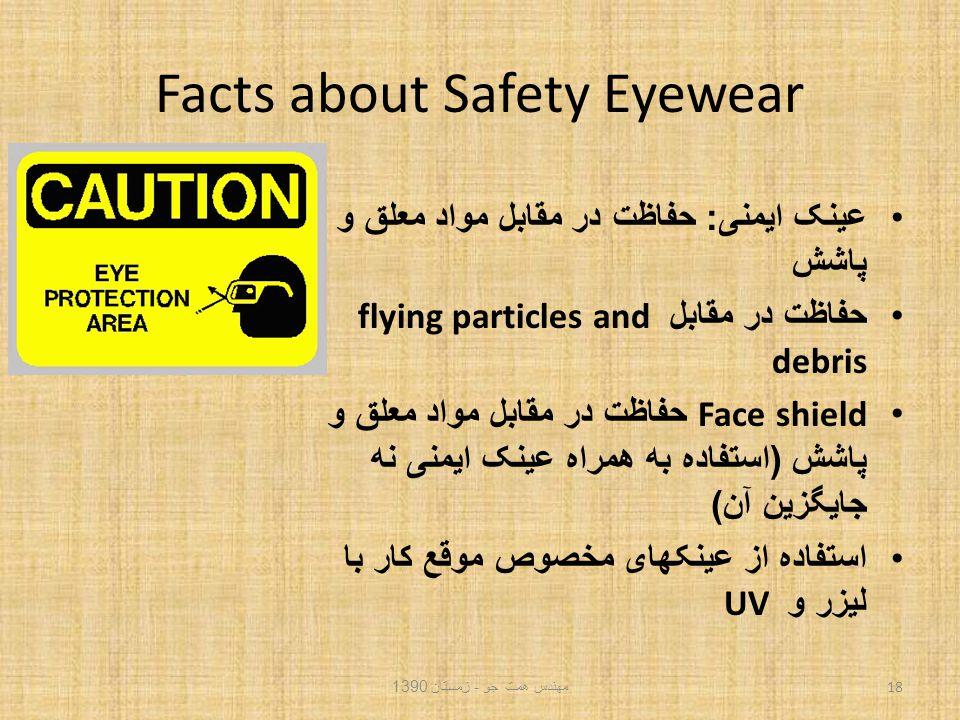 Facts about Safety Eyewear عینک ایمنی : حفاظت در مقابل مواد معلق و پاشش حفاظت در مقابل flying particles and debris Face shield حفاظت در مقابل مواد معلق و پاشش ( استفاده به همراه عینک ایمنی نه جایگزین آن ) استفاده از عینکهای مخصوص موقع کار با لیزر و UV 18 مهندس همت جو - زمستان 1390