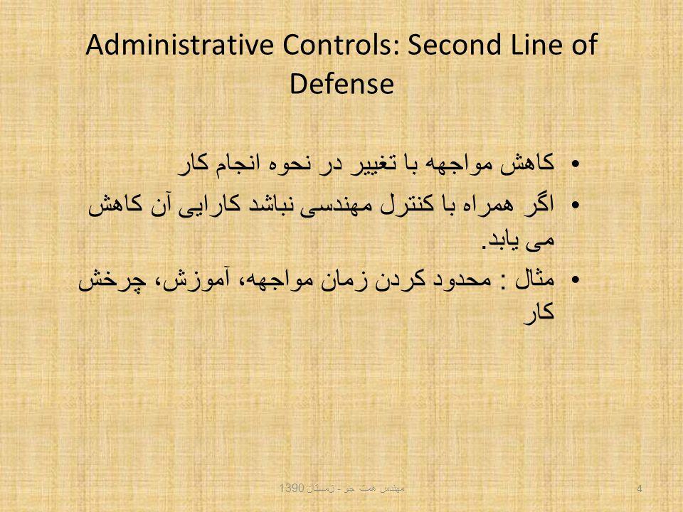 Administrative Controls: Second Line of Defense کاهش مواجهه با تغییر در نحوه انجام کار اگر همراه با کنترل مهندسی نباشد کارایی آن کاهش می یابد.