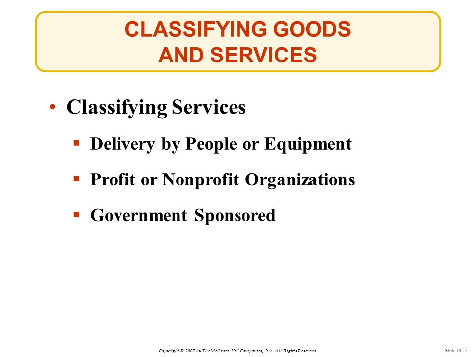 Copyright © 2007 by The McGraw-Hill Companies, Inc. All Rights Reserved. Slide 10-15 Classifying Services CLASSIFYING GOODS AND SERVICES  Delivery by