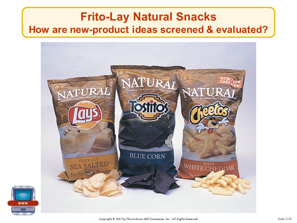 Copyright © 2007 by The McGraw-Hill Companies, Inc. All Rights Reserved. Slide 10-39 Frito-Lay Natural Snacks How are new-product ideas screened & eva