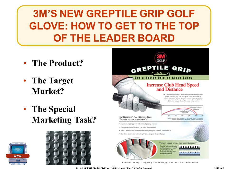 Copyright © 2007 by The McGraw-Hill Companies, Inc. All Rights Reserved. Slide 10-4 3M'S NEW GREPTILE GRIP GOLF GLOVE: HOW TO GET TO THE TOP OF THE LE