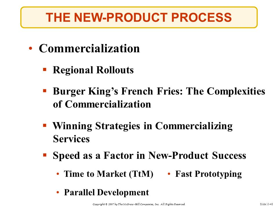 Copyright © 2007 by The McGraw-Hill Companies, Inc. All Rights Reserved. Slide 10-48 THE NEW-PRODUCT PROCESS  Burger King's French Fries: The Complex