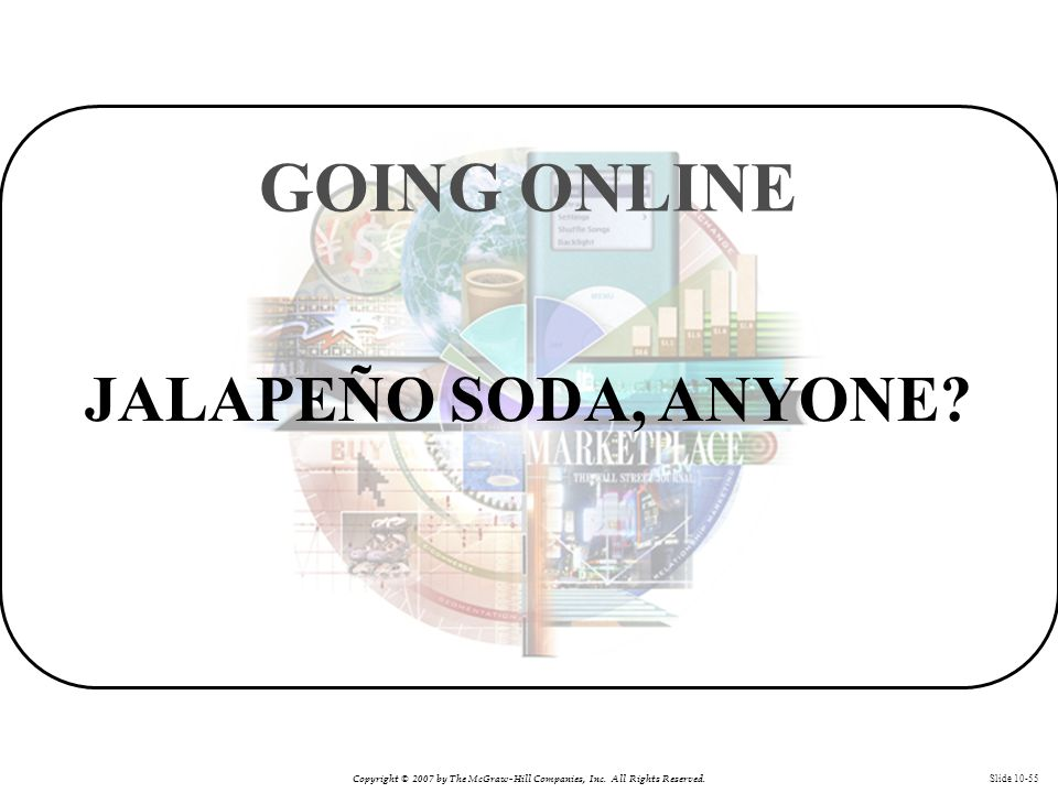 Copyright © 2007 by The McGraw-Hill Companies, Inc. All Rights Reserved. Slide 10-55 JALAPEÑO SODA, ANYONE? GOING ONLINE