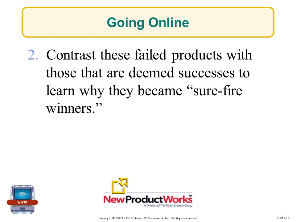 Copyright © 2007 by The McGraw-Hill Companies, Inc. All Rights Reserved. Slide 10-57 Going Online 2. Contrast these failed products with those that ar