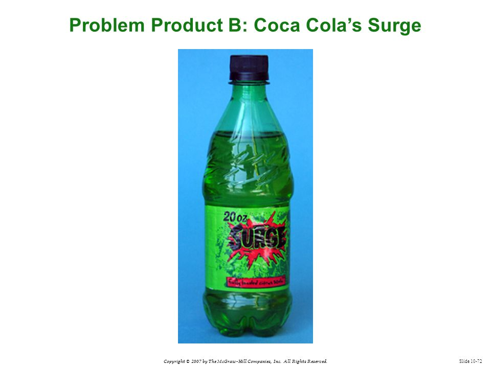 Copyright © 2007 by The McGraw-Hill Companies, Inc. All Rights Reserved. Slide 10-72 Problem Product B: Coca Cola's Surge