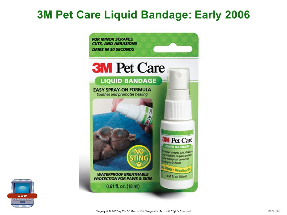 Copyright © 2007 by The McGraw-Hill Companies, Inc. All Rights Reserved. Slide 10-81 3M Pet Care Liquid Bandage: Early 2006