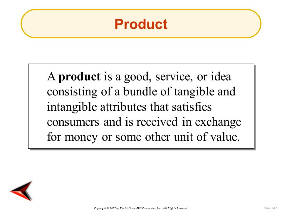 Copyright © 2007 by The McGraw-Hill Companies, Inc. All Rights Reserved. Slide 10-87 Product A product is a good, service, or idea consisting of a bun