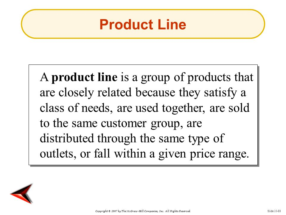 Copyright © 2007 by The McGraw-Hill Companies, Inc. All Rights Reserved. Slide 10-88 Product Line A product line is a group of products that are close