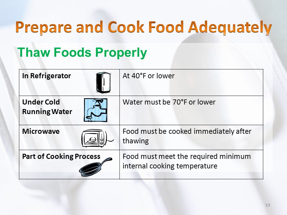 Thaw Foods Properly In RefrigeratorAt 40°F or lower Under Cold Running Water Water must be 70°F or lower MicrowaveFood must be cooked immediately afte