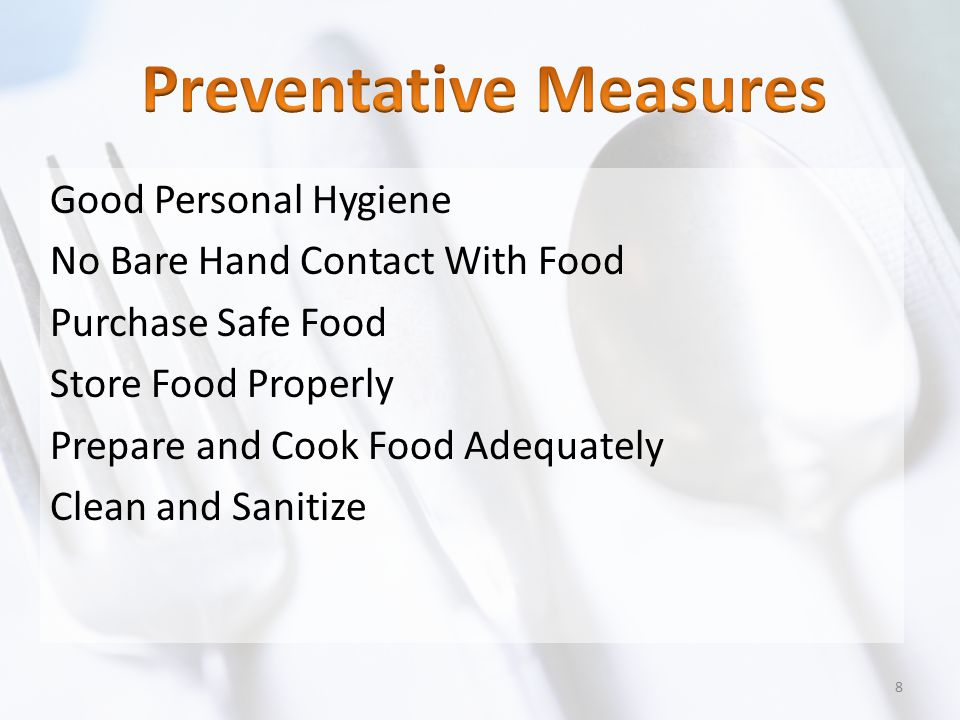 Thaw Foods Properly In RefrigeratorAt 40°F or lower Under Cold Running Water Water must be 70°F or lower MicrowaveFood must be cooked immediately after thawing Part of Cooking ProcessFood must meet the required minimum internal cooking temperature 19