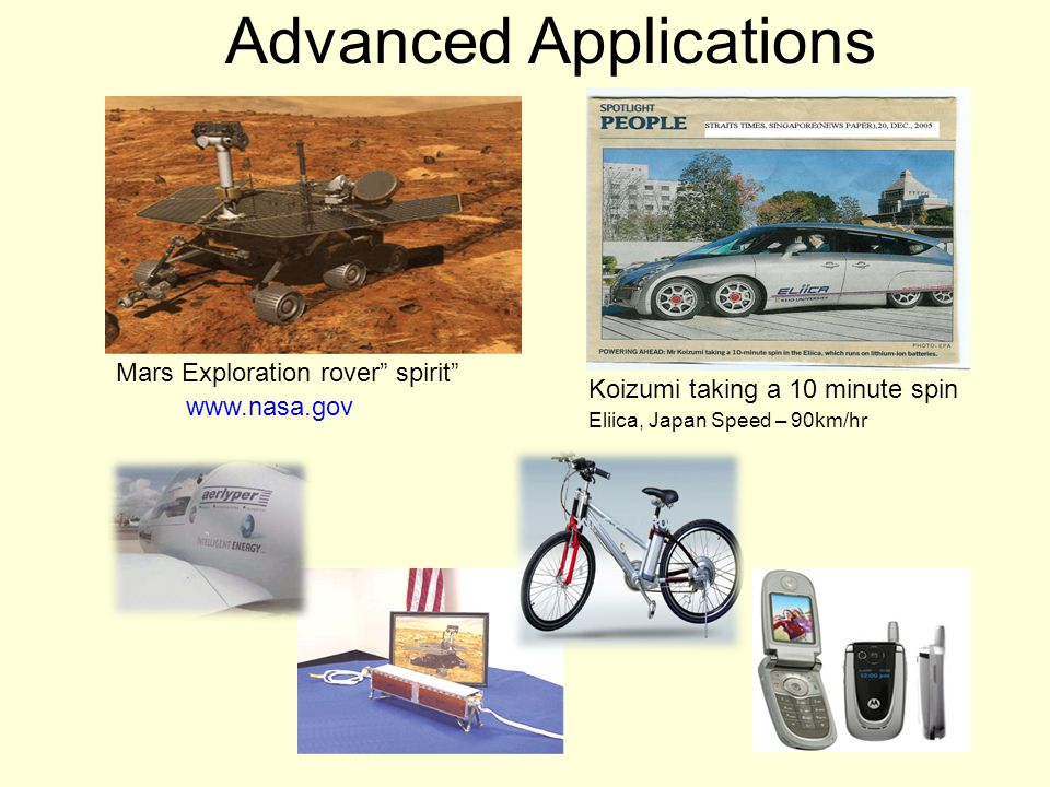"Advanced Applications Mars Exploration rover"" spirit"" Eliica, Japan Speed – 90km/hr Koizumi taking a 10 minute spin www.nasa.gov"
