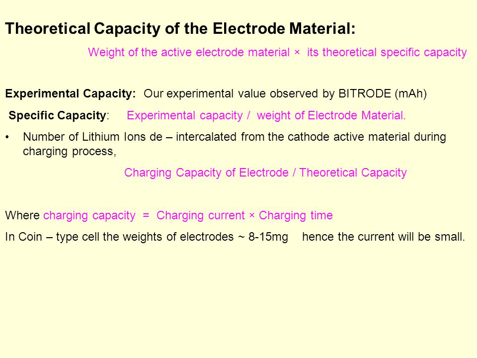 Theoretical Capacity of the Electrode Material: Weight of the active electrode material × its theoretical specific capacity Experimental Capacity: Our