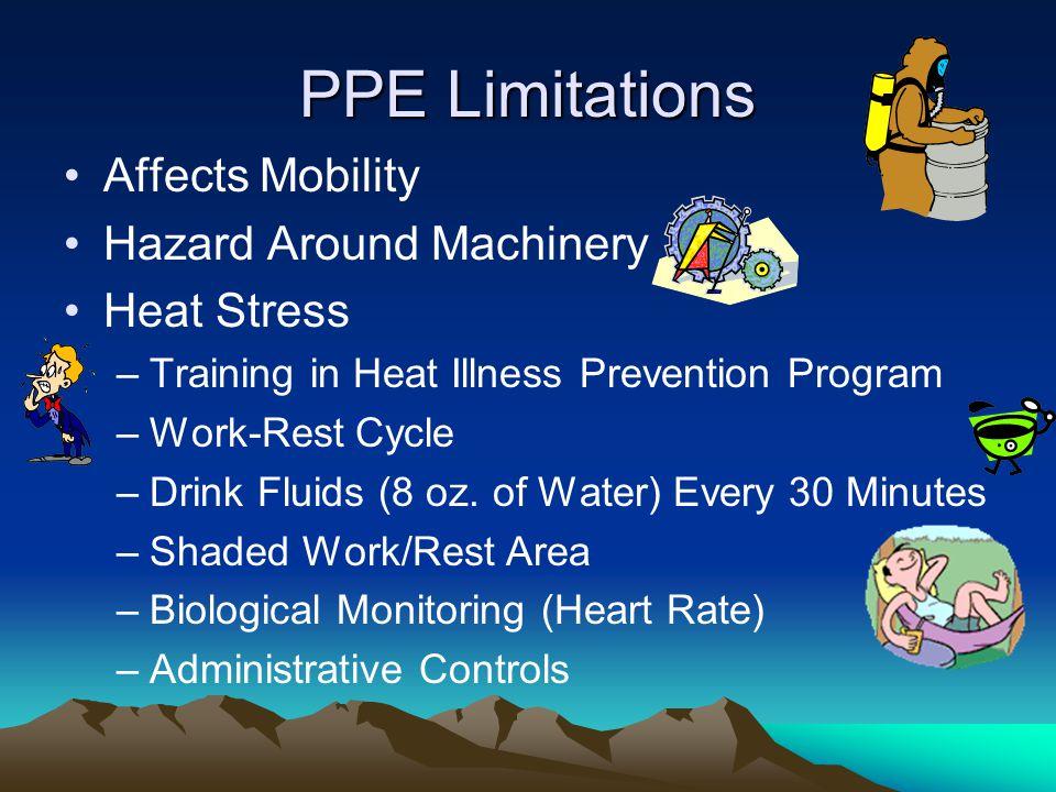 PPE Limitations Affects Mobility Hazard Around Machinery Heat Stress –Training in Heat Illness Prevention Program –Work-Rest Cycle –Drink Fluids (8 oz