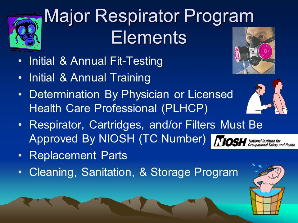 Major Respirator Program Elements Initial & Annual Fit-Testing Initial & Annual Training Determination By Physician or Licensed Health Care Profession