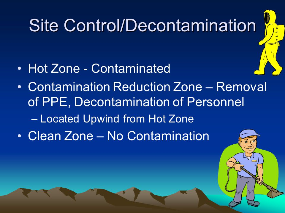 Site Control/Decontamination Hot Zone - Contaminated Contamination Reduction Zone – Removal of PPE, Decontamination of Personnel –Located Upwind from Hot Zone Clean Zone – No Contamination