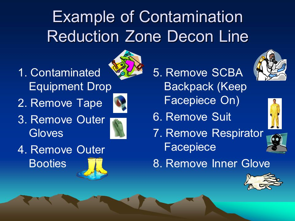 Example of Contamination Reduction Zone Decon Line 1.