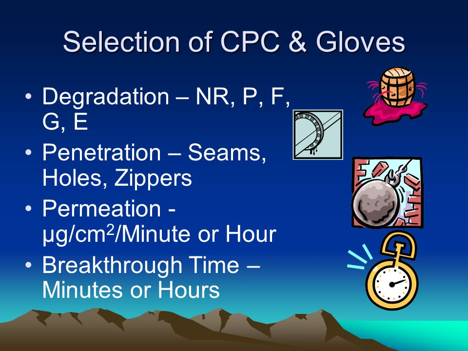 Selection of CPC & Gloves Degradation – NR, P, F, G, E Penetration – Seams, Holes, Zippers Permeation - µg/cm 2 /Minute or Hour Breakthrough Time – Minutes or Hours
