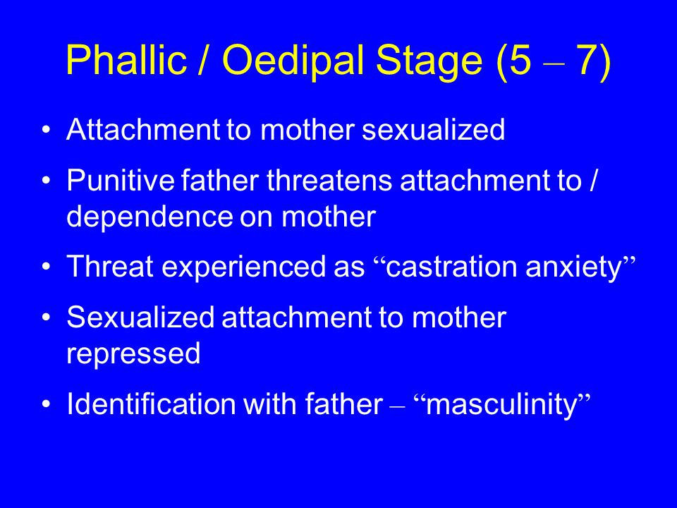 Phallic / Oedipal Stage (5 – 7) Attachment to mother sexualized Punitive father threatens attachment to / dependence on mother Threat experienced as castration anxiety Sexualized attachment to mother repressed Identification with father – masculinity