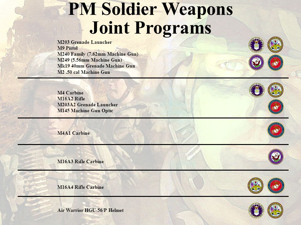 PM Soldier Weapons Joint Programs M203 Grenade Launcher M9 Pistol M240 Family (7.62mm Machine Gun) M249 (5.56mm Machine Gun) Mk19 40mm Grenade Machine Gun M2.50 cal Machine Gun M4 Carbine M16A2 Rifle M203A2 Grenade Launcher M145 Machine Gun Optic M4A1 Carbine M16A3 Rifle Carbine M16A4 Rifle Carbine Air Warrior HGU-56/P Helmet