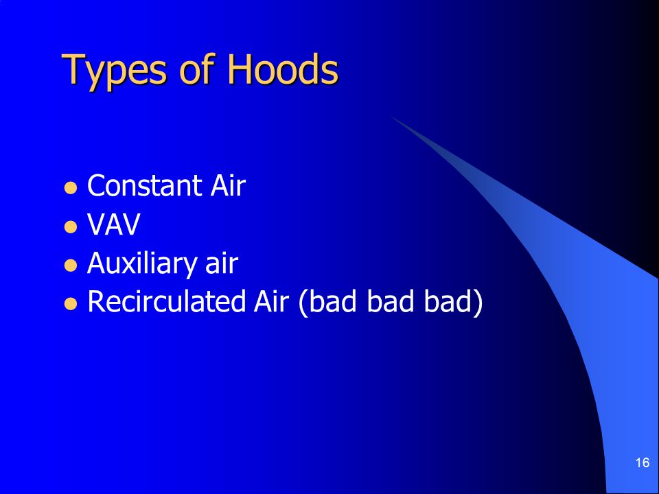 16 Types of Hoods Constant Air VAV Auxiliary air Recirculated Air (bad bad bad)