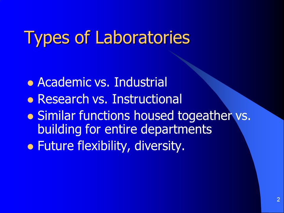 2 Types of Laboratories Academic vs. Industrial Research vs.