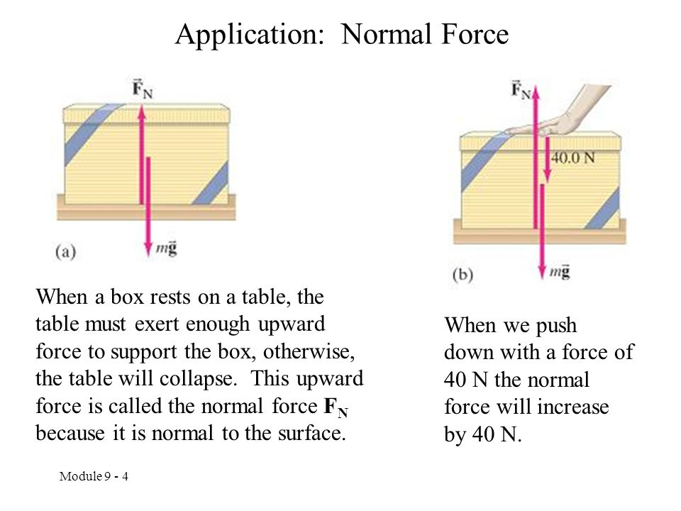 Module 9 - 4 Application: Normal Force When a box rests on a table, the table must exert enough upward force to support the box, otherwise, the table will collapse.