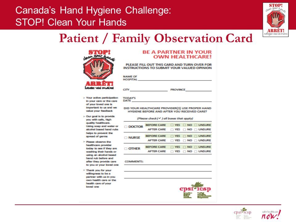 Canada's Hand Hygiene Challenge: STOP! Clean Your Hands Patient / Family Observation Card
