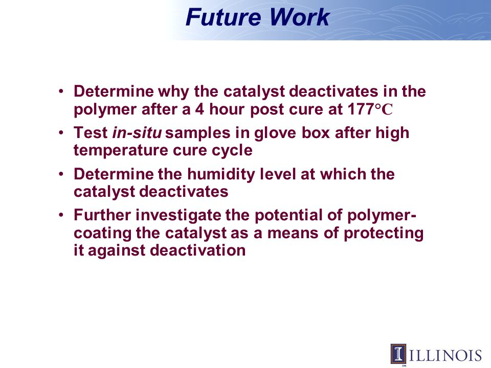 Future Work Determine why the catalyst deactivates in the polymer after a 4 hour post cure at 177 °C Test in-situ samples in glove box after high temp