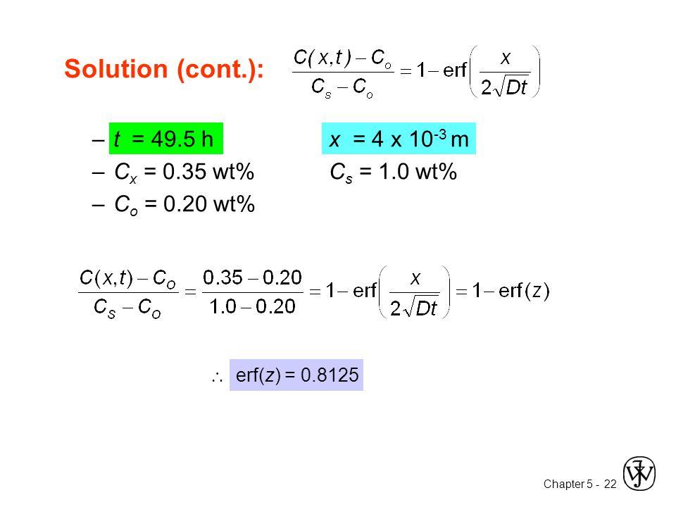 Chapter 5 - 22 Solution (cont.): –t = 49.5 h x = 4 x 10 -3 m –C x = 0.35 wt%C s = 1.0 wt% –C o = 0.20 wt%  erf(z) = 0.8125
