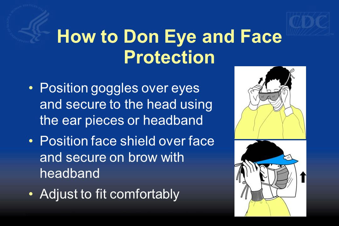 How to Don Eye and Face Protection Position goggles over eyes and secure to the head using the ear pieces or headband Position face shield over face and secure on brow with headband Adjust to fit comfortably