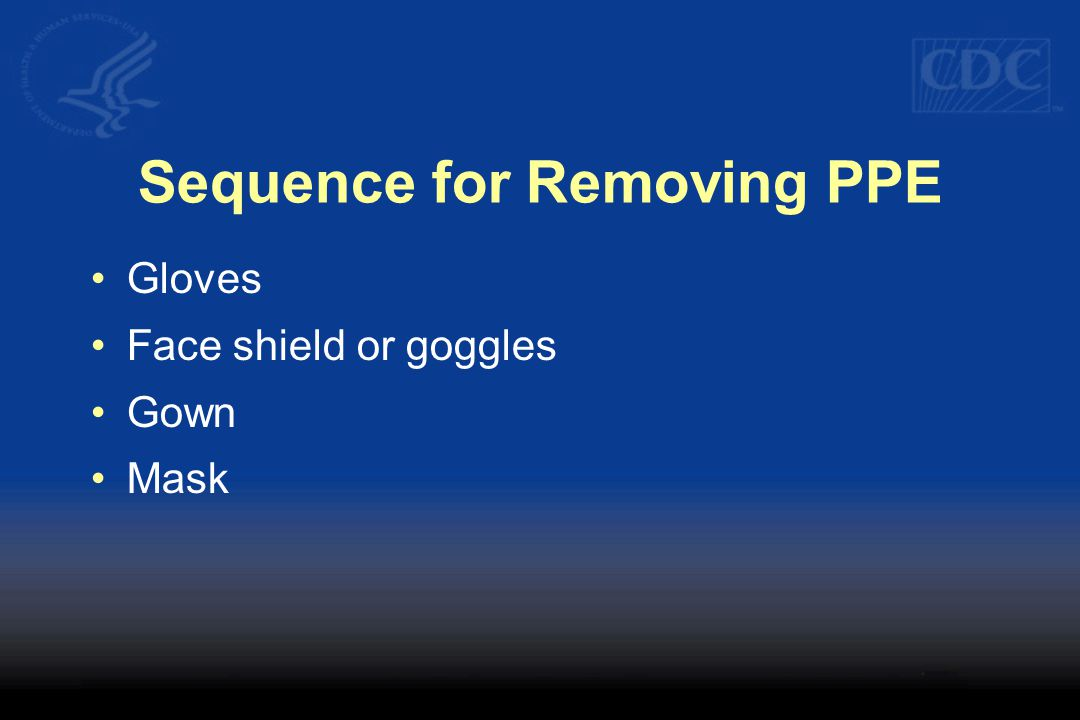 Sequence for Removing PPE Gloves Face shield or goggles Gown Mask