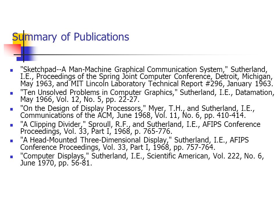 Summary of Publications